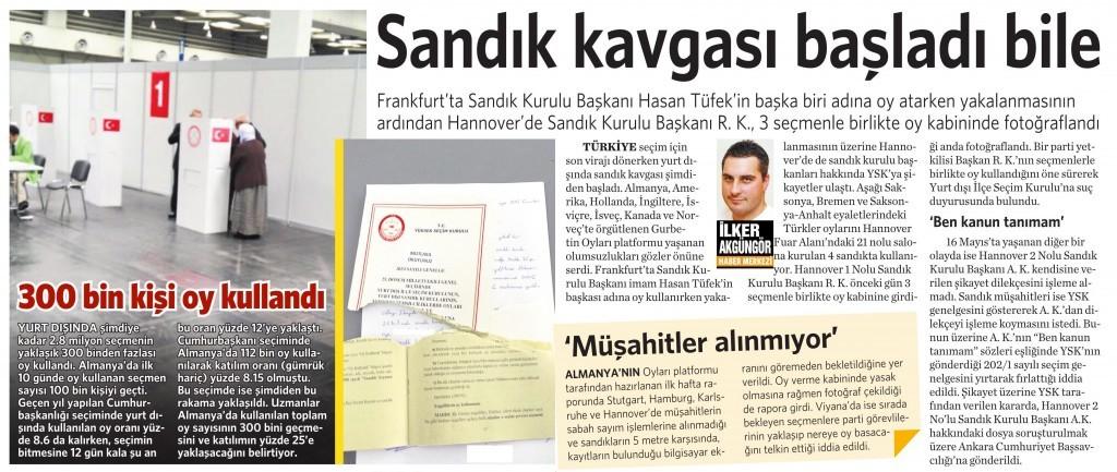 20 Mayıs 2015 Vatan Gazetesi 15. sayfa