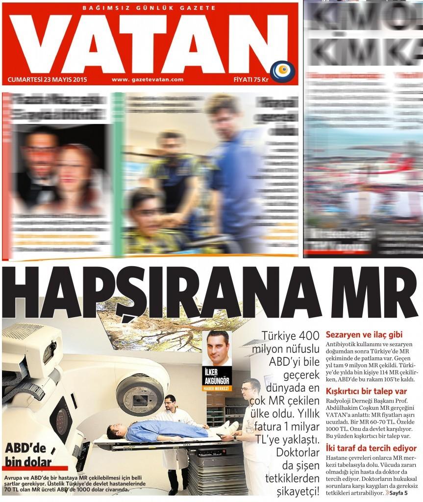 23 Mayıs 2015 Vatan Gazetesi 1. sayfa