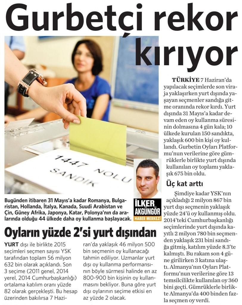 28 Mayıs 2015 Vatan Gazetesi 14. sayfa