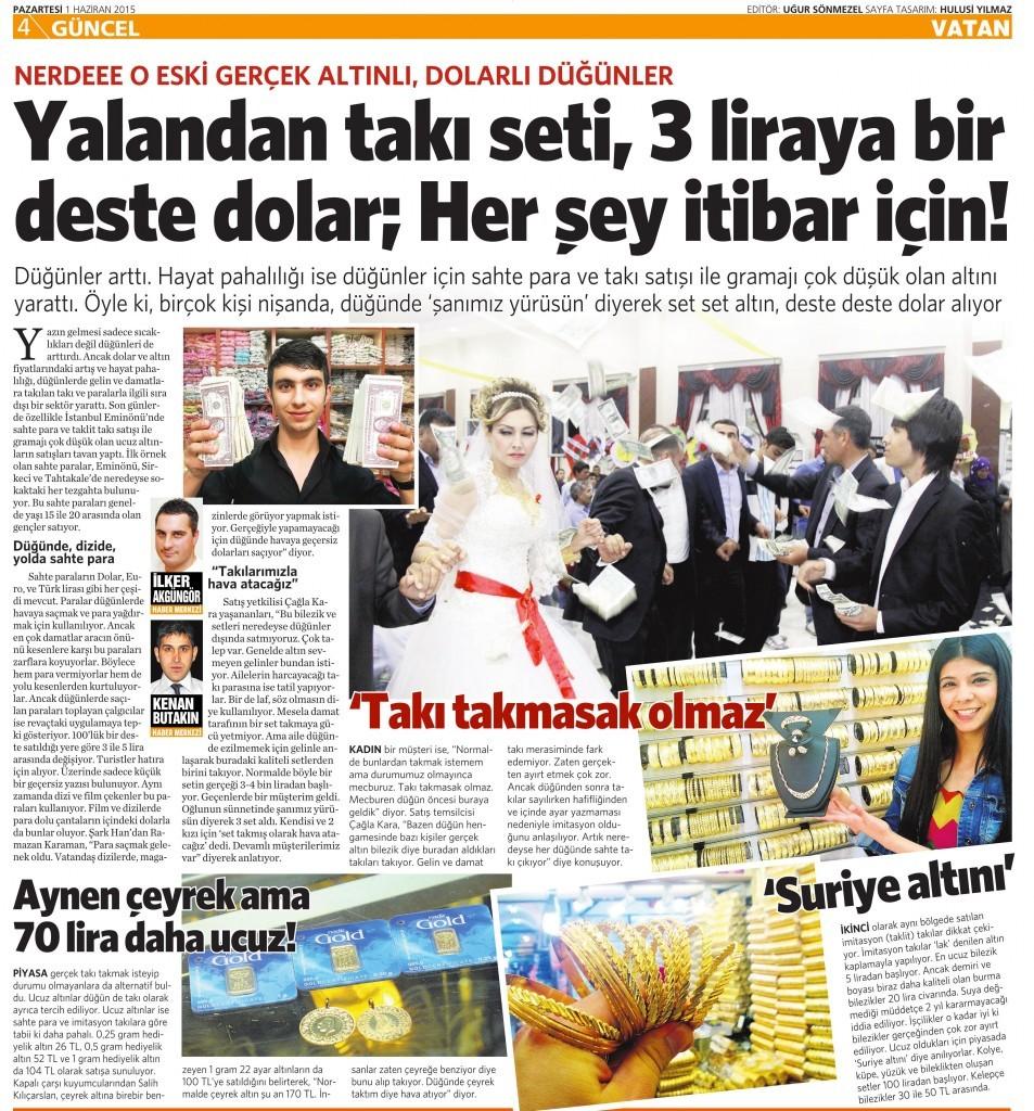 1 Haziran 2015 Vatan Gazetesi 4. sayfa