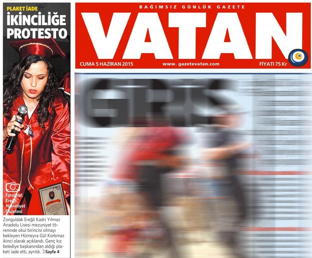 5 Haziran 2015 Vatan Gazetesi 1. sayfa