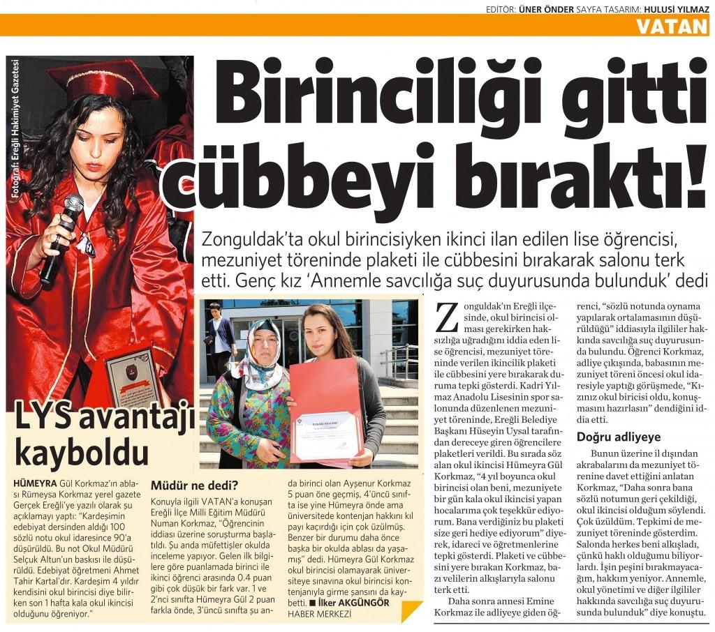 5 Haziran 2015 Vatan Gazetesi 4. sayfa