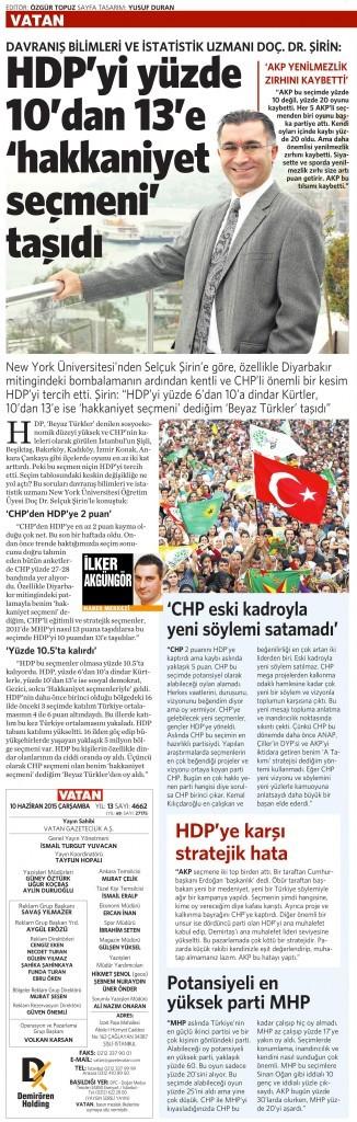 10 Haziran 2015 Vatan Gazetesi 17. sayfa