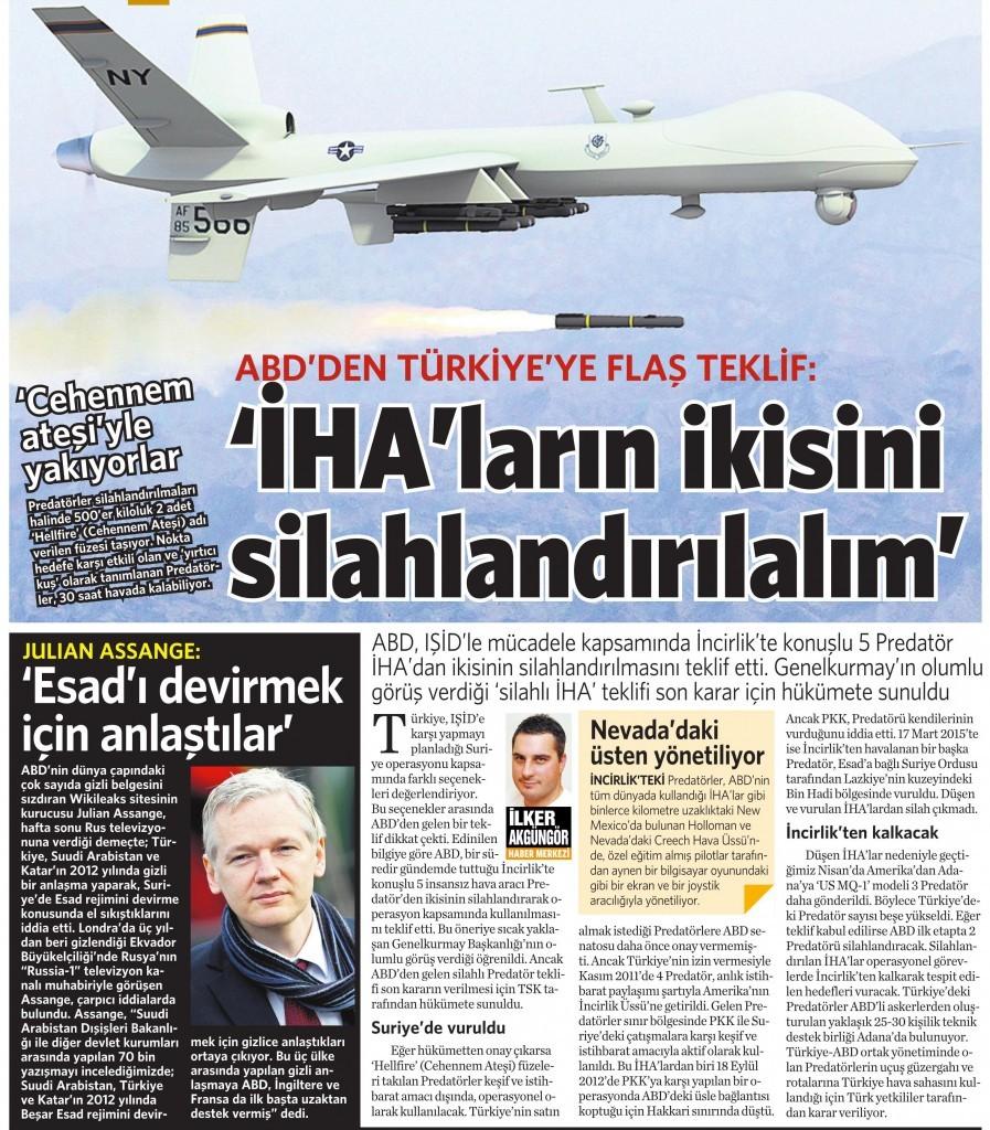 30 Haziran 2015 Vatan Gazetesi 12. sayfa