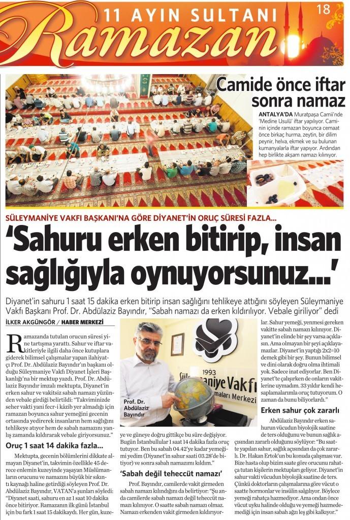 3 Temmuz 2015 Vatan Gazetesi 18. sayfa