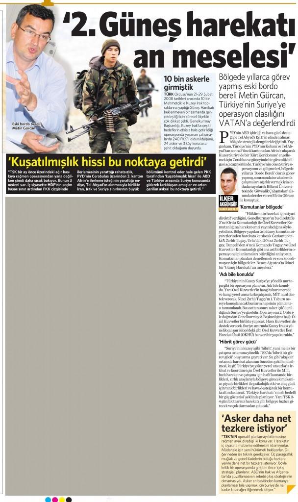 9 Temmuz 2015 Vatan Gazetesi 12. sayfa