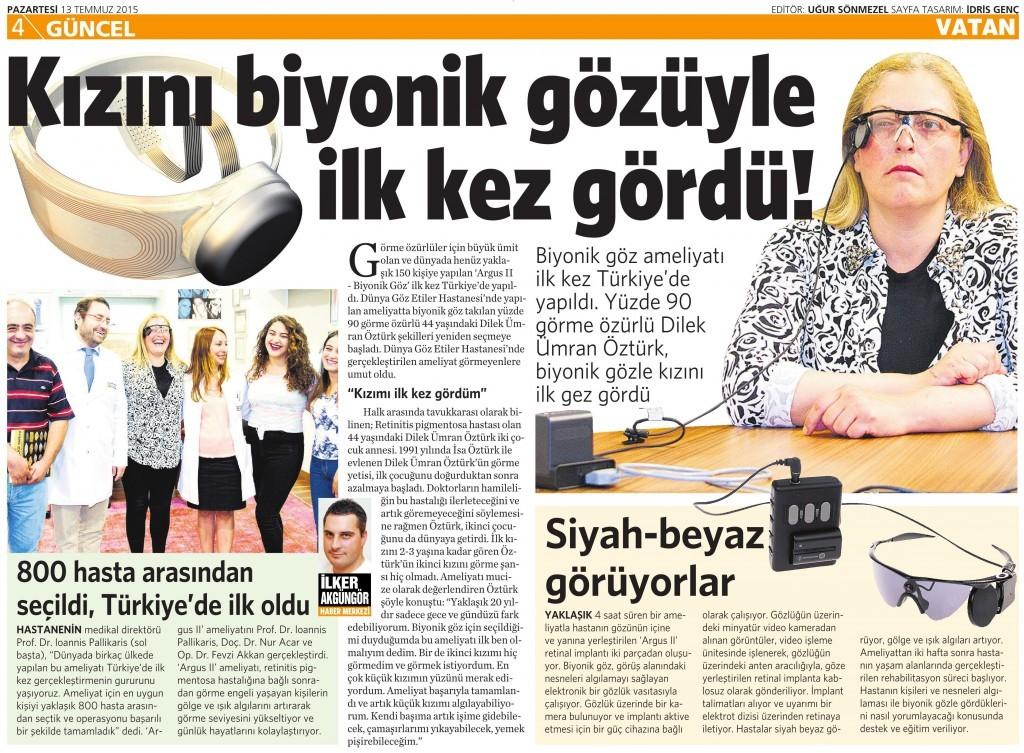 13 Temmuz 2015 Vatan Gazetesi 4. sayfa
