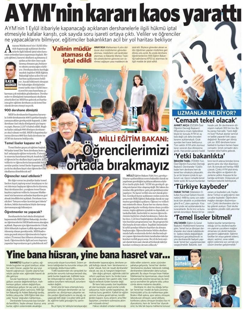 15 Temmuz 2015 Vatan Gazetesi 12. sayfa