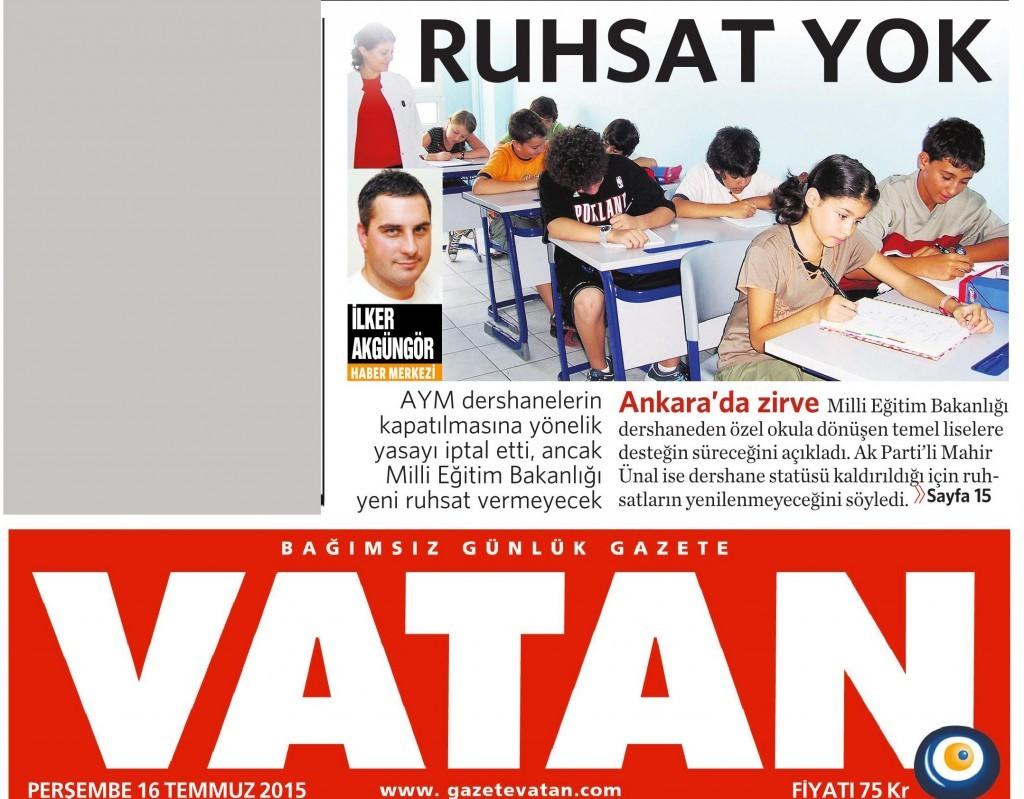 16 Temmuz 2015 Vatan Gazetesi 1. sayfa