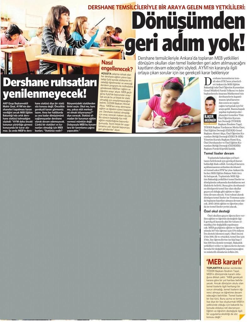 16 Temmuz 2015 Vatan Gazetesi 15. sayfa