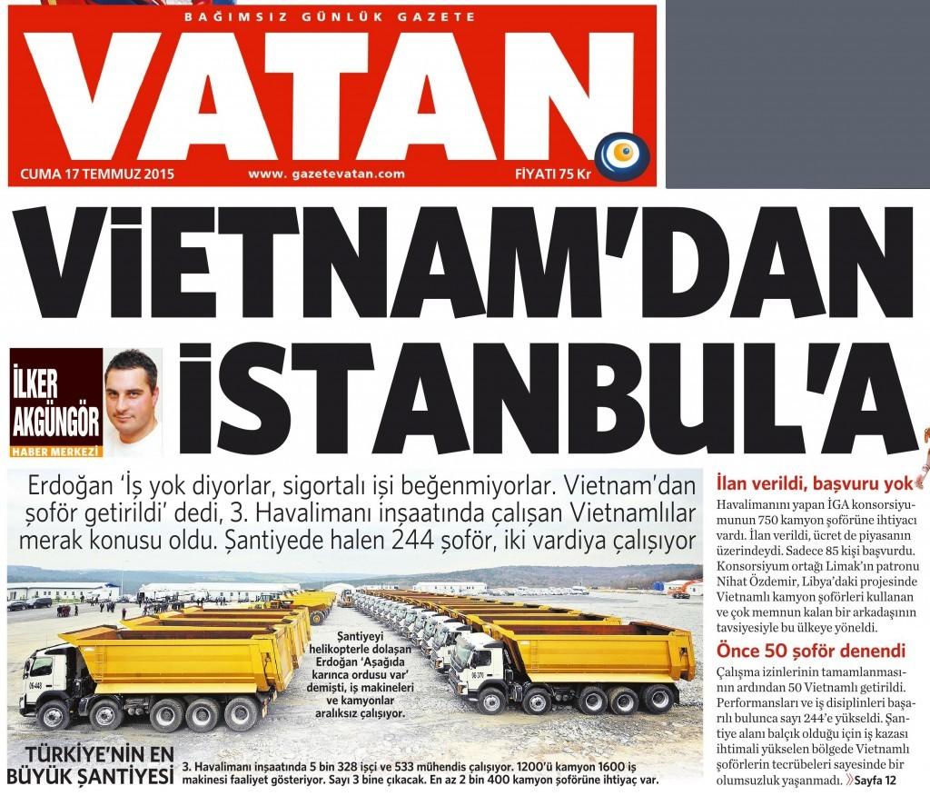 17 Temmuz 2015 Vatan Gazetesi 1. sayfa