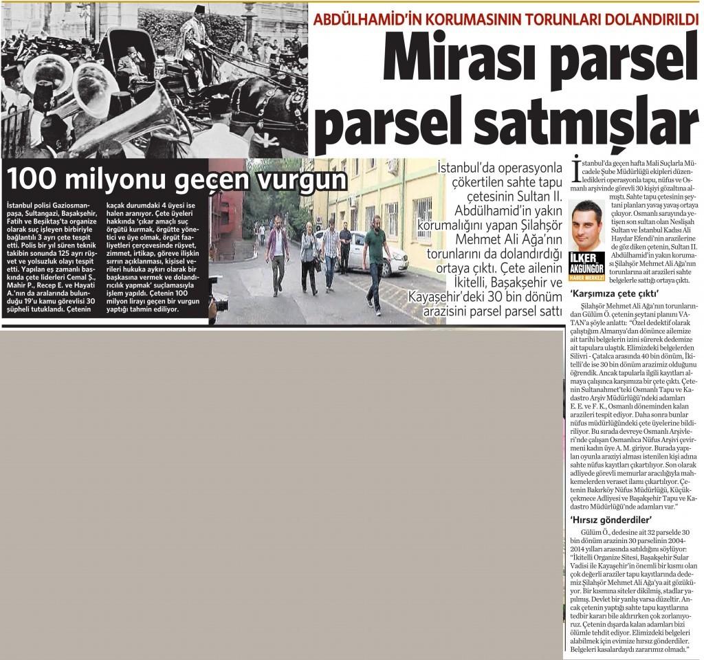 18 Temmuz 2015 Vatan Gazetesi 11. sayfa