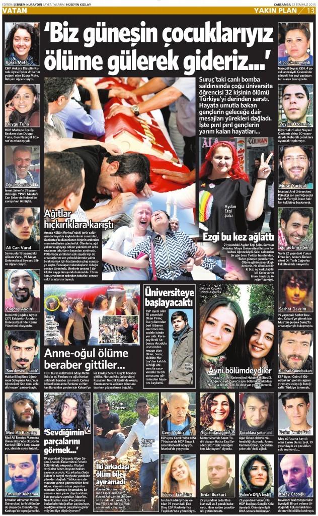 22 Temmuz 2015 Vatan Gazetesi 13. sayfa