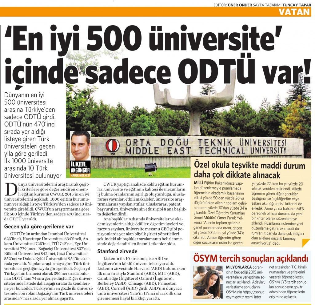 24 Temmuz 2015 Vatan Gazetesi 4. sayfa