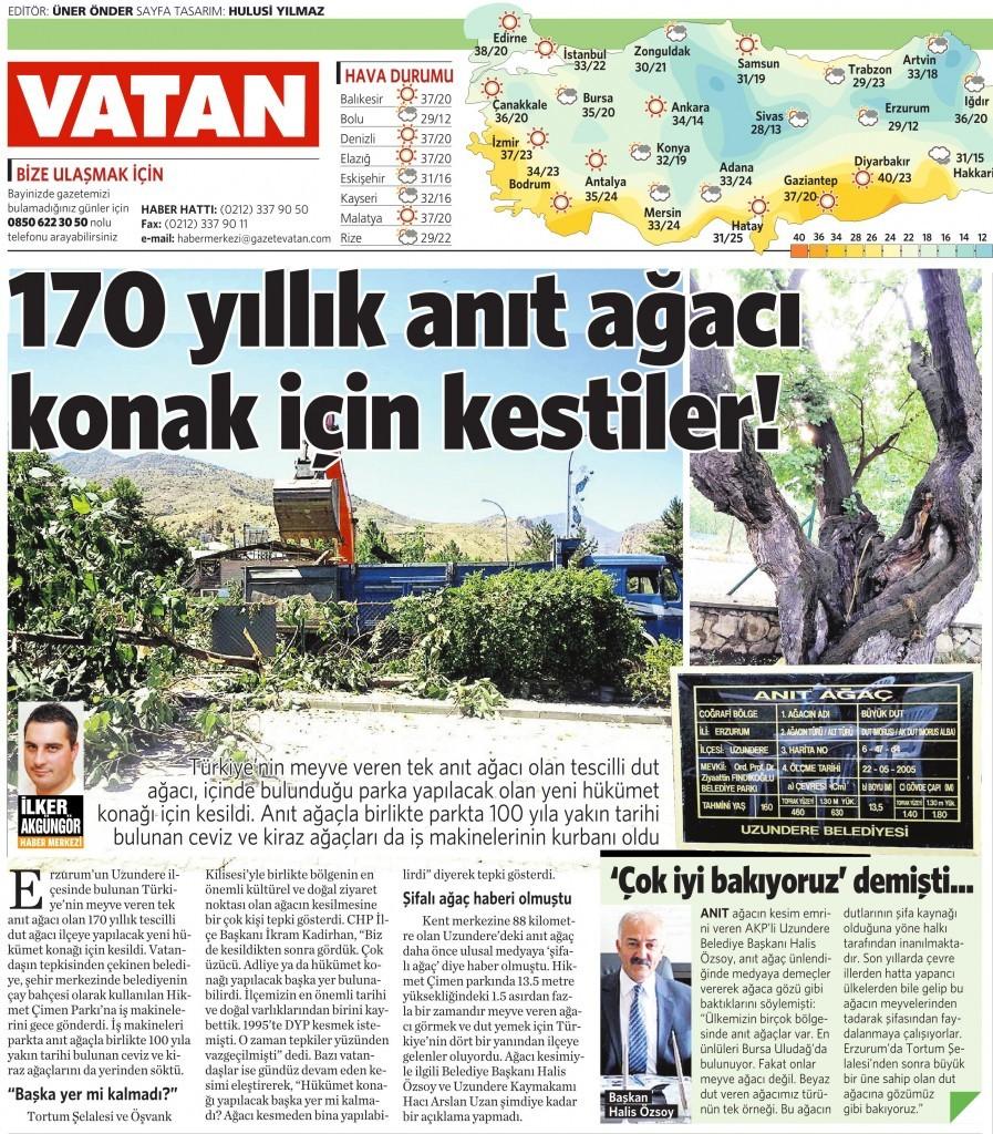 27 Temmuz 2015 Vatan Gazetesi 3. sayfa