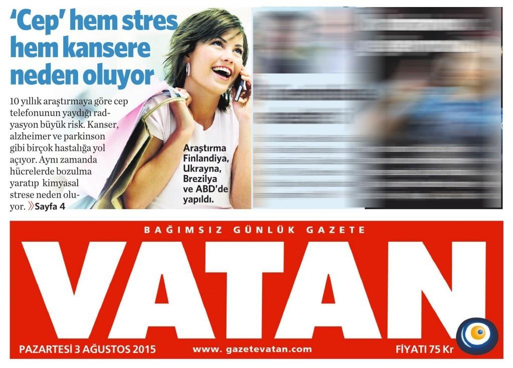 3 Ağustos 2015 Vatan Gazetesi 1. sayfa
