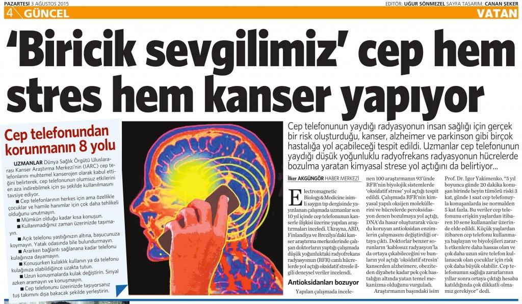 3 Ağustos 2015 Vatan Gazetesi 4. sayfa