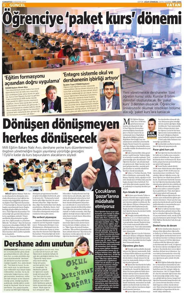 8 Ağustos 2015 Vatan Gazetesi 6. sayfa