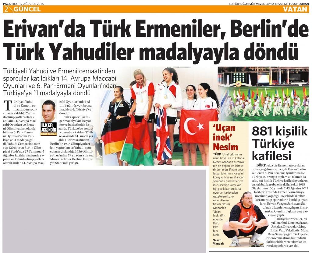 17 Ağustos 2015 Vatan Gazetesi 2. sayfa
