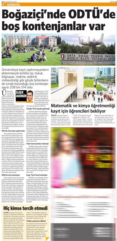 18 Ağustos 2015 Vatan Gazetesi 4. sayfa