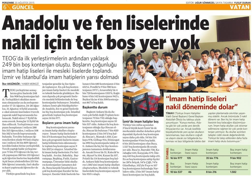 20 Ağustos 2015 Vatan Gazetesi 6. sayfa