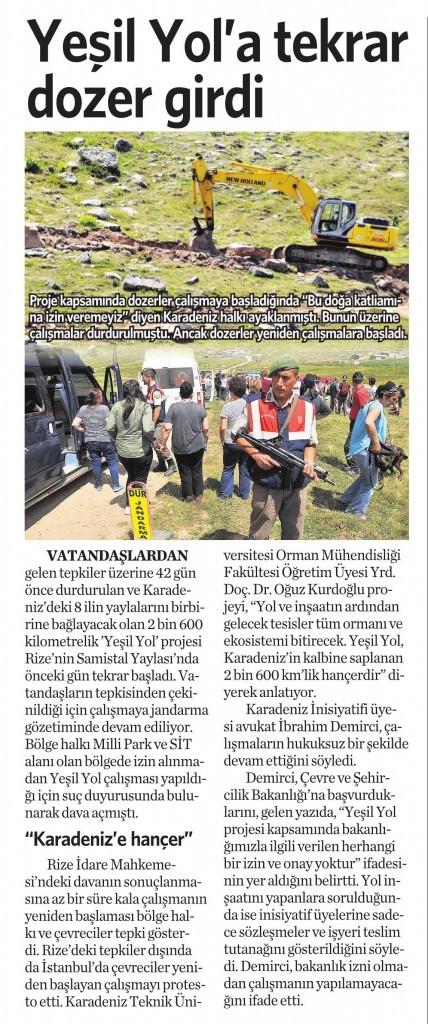 22 Ağustos 2015 Vatan Gazetesi 4. sayfa