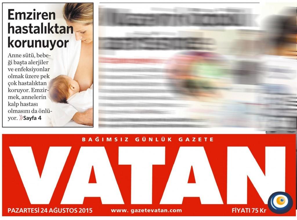 24 Ağustos 2015 Vatan Gazetesi 1. sayfa