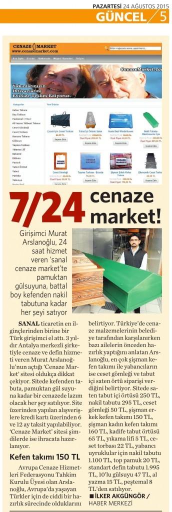 24 Ağustos 2015 Vatan Gazetesi 5. sayfa