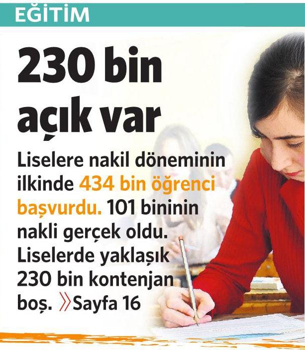 25 Ağustos 2015 Vatan Gazetesi 1. sayfa