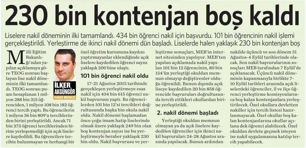 25 Ağustos 2015 Vatan Gazetesi 16. sayfa