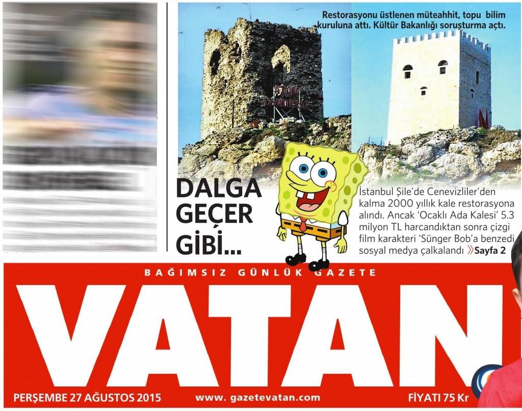 27 Ağustos 2015 Vatan Gazetesi 1. sayfa