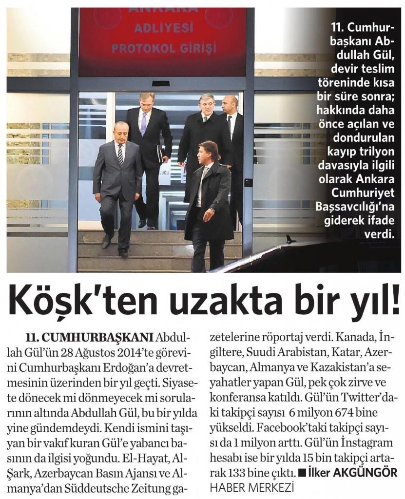 28 Ağustos 2015 Vatan Gazetesi 16. sayfa