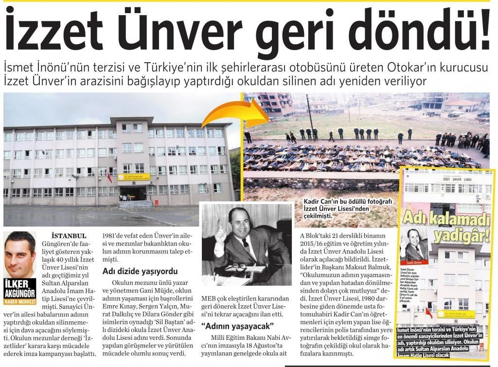 29 Ağustos 2015 Vatan Gazetesi 4. sayfa