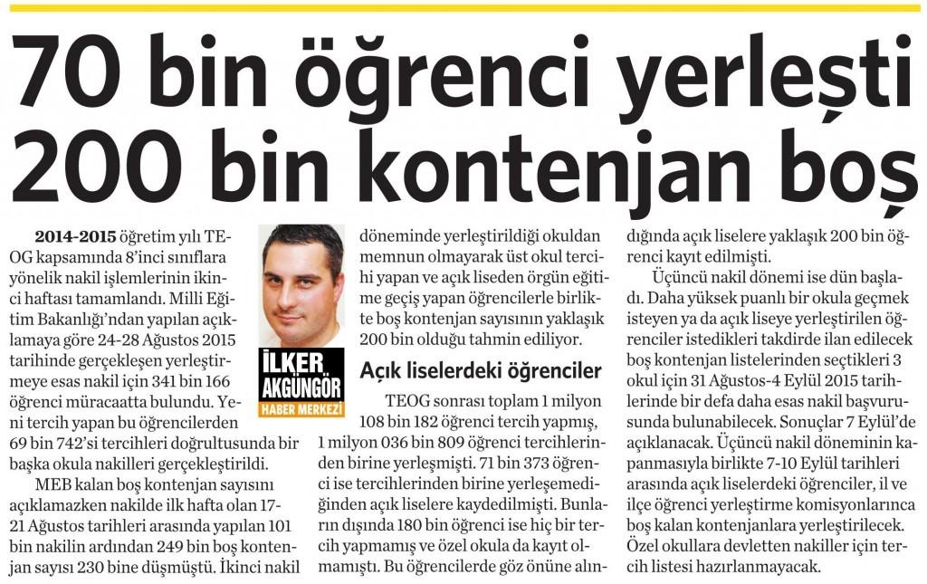 1 Eylül 2015 Vatan Gazetesi 4. sayfa