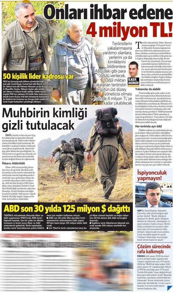 1 Eylül 2015 Vatan Gazetesi 12. sayfa