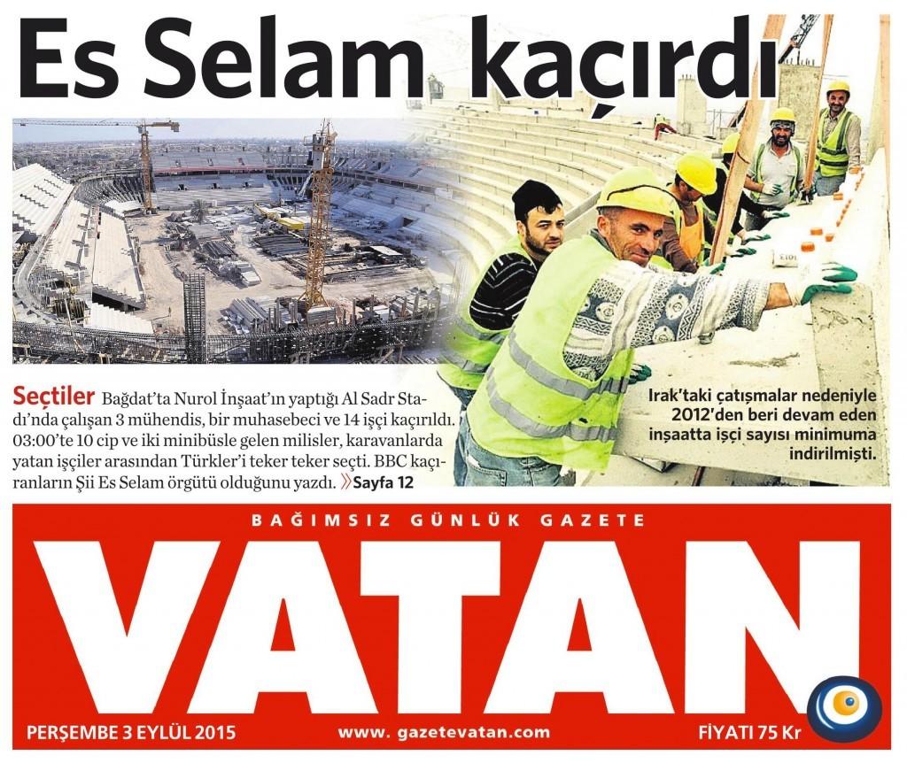 3 Eylül 2015 Vatan Gazetesi 1. sayfa