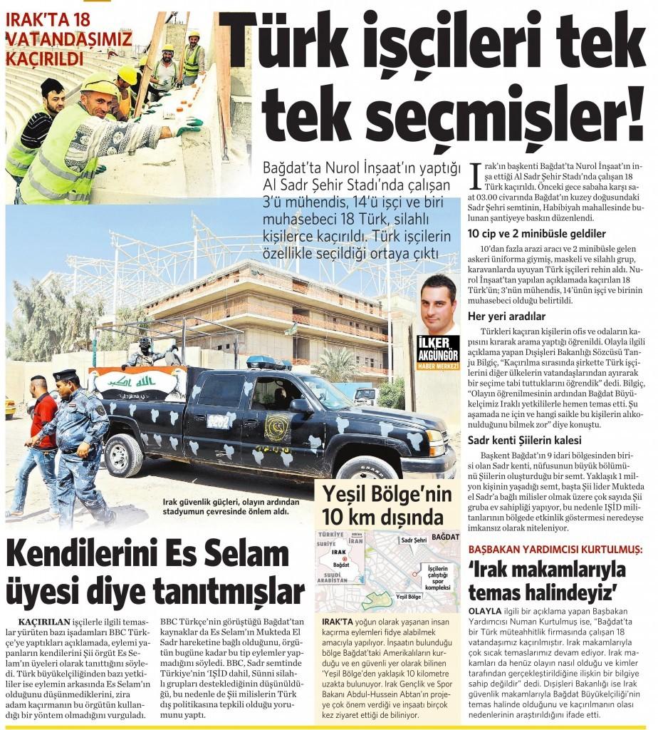 3 Eylül 2015 Vatan Gazetesi 12. sayfa