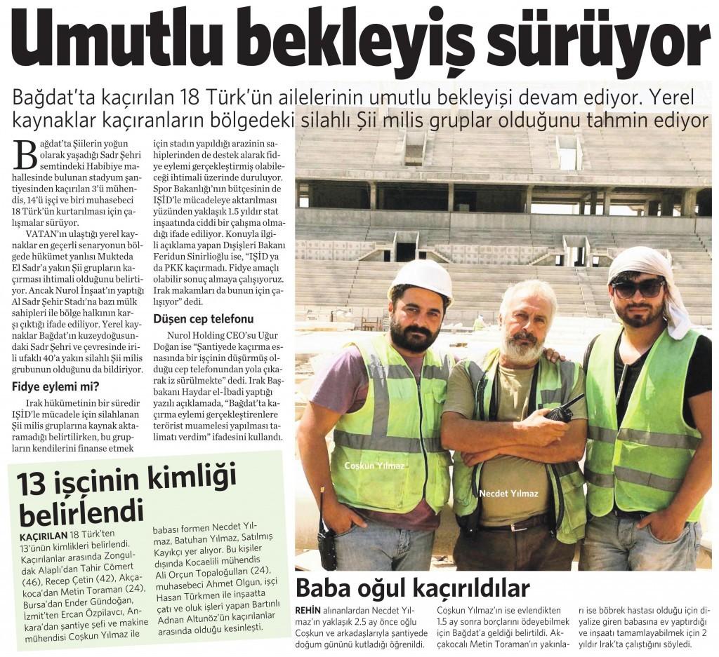 4 Eylül 2015 Vatan Gazetesi 16. sayfa