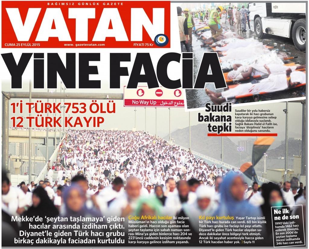 25 Eylül 2015 Vatan Gazetesi 1. sayfa