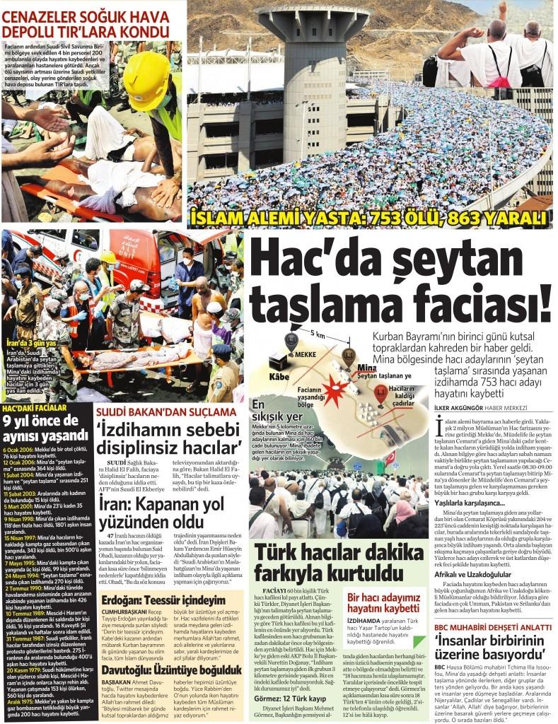 25 Eylül 2015 Vatan Gazetesi 11. sayfa