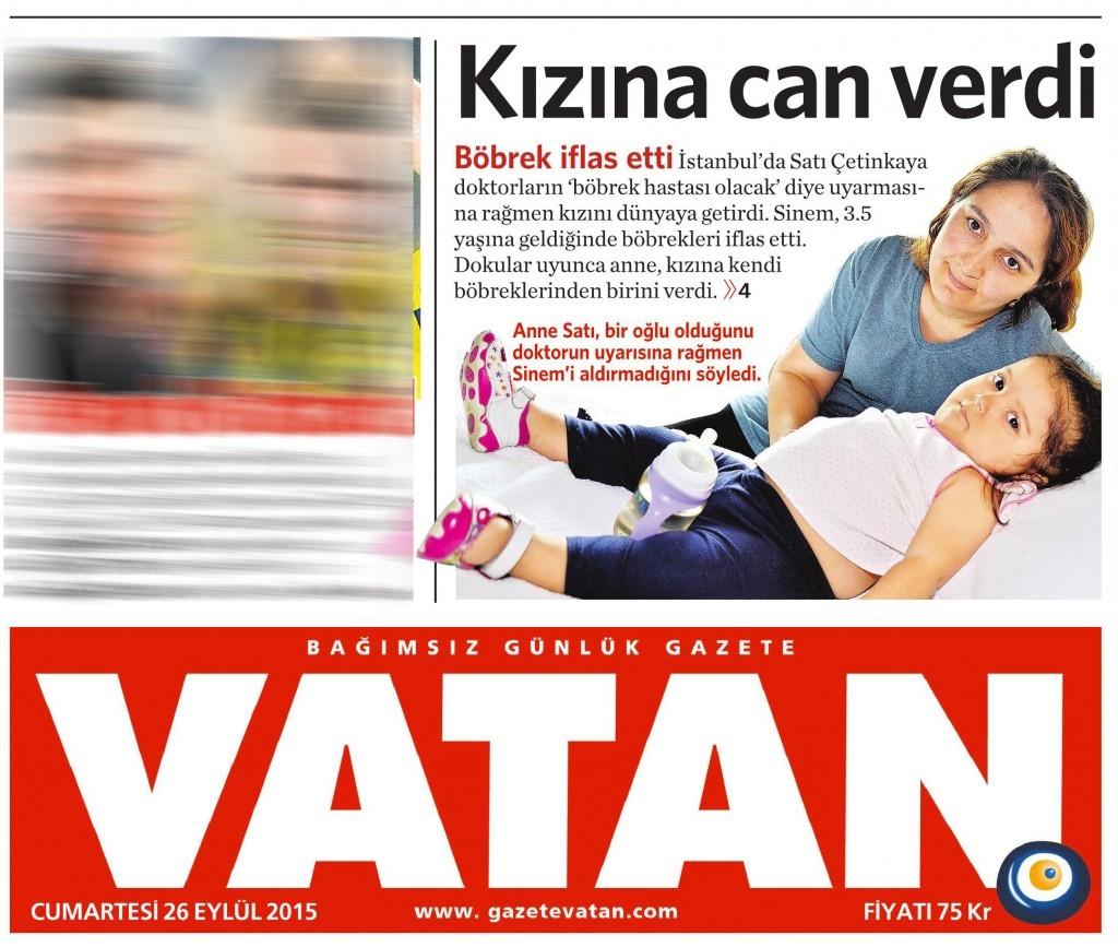 26 Eylül 2015 Vatan Gazetesi 1. sayfa