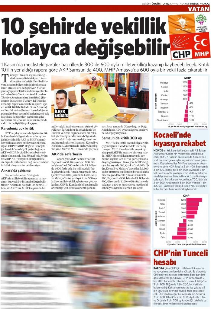5 Ekim 2015 Vatan Gazetesi 16. sayfa