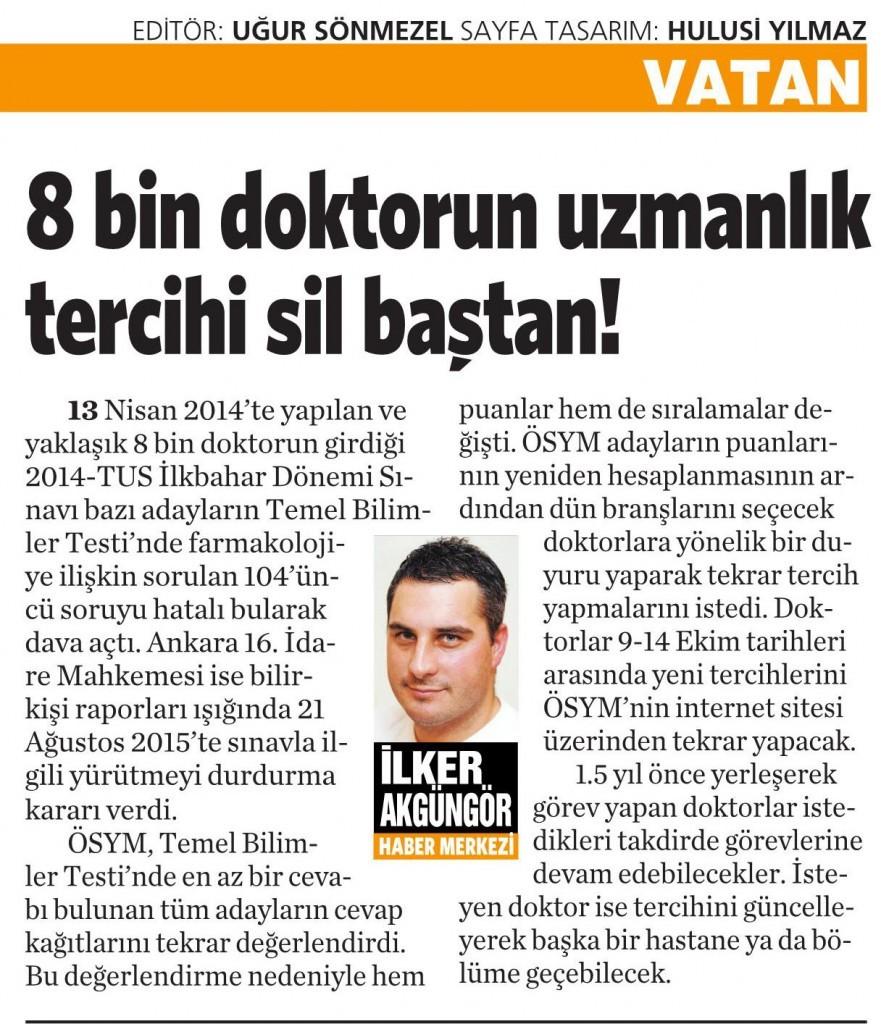 7 Ekim 2015 Vatan Gazetesi 6. sayfa