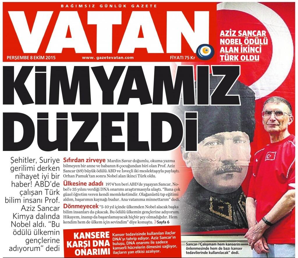 8 Ekim 2015 Vatan Gazetesi 6. sayfa