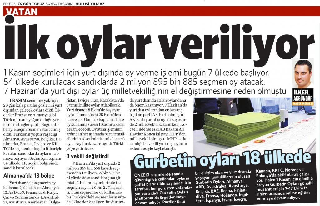8 Ekim 2015 Vatan Gazetesi 15. sayfa
