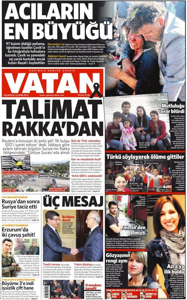 12 Ekim 2015 Vatan Gazetesi 1. sayfa