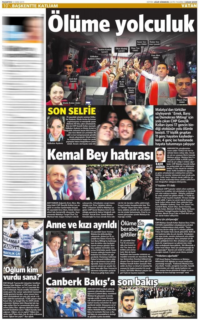 12 Ekim 2015 Vatan Gazetesi 10. sayfa