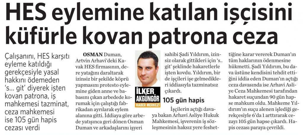 13 Ekim 2015 Vatan Gazetesi 3. sayfa