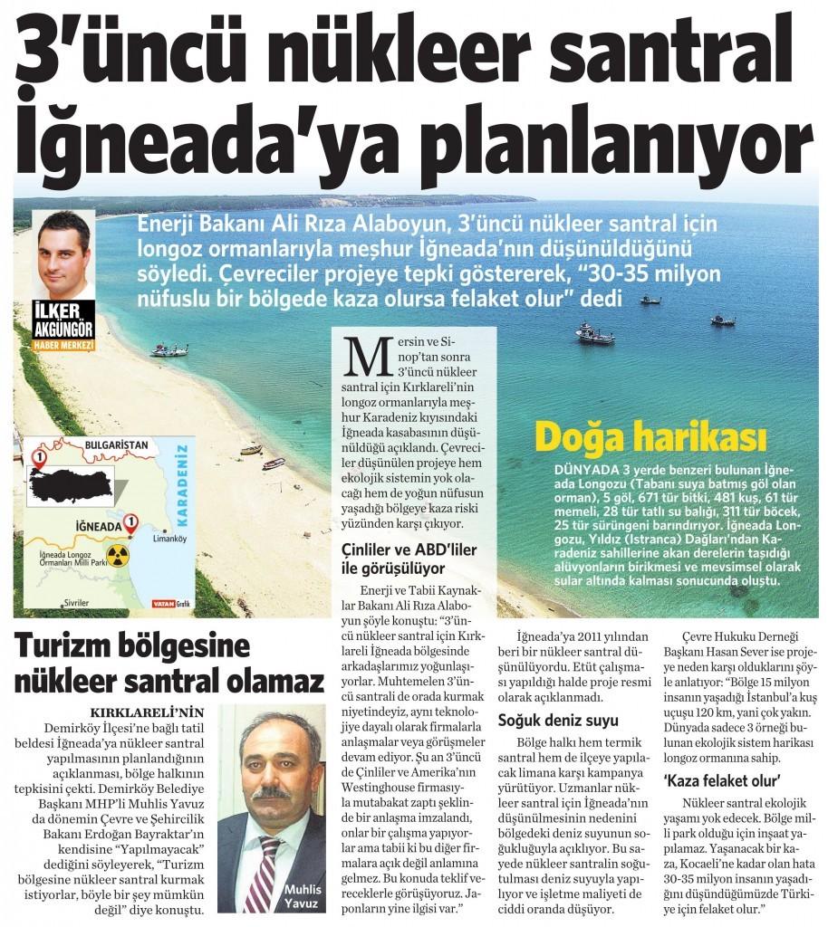 15 Ekim 2015 Vatan Gazetesi 6. sayfa