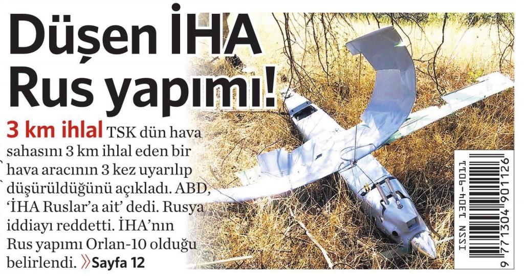 17 Ekim 2015 Vatan Gazetesi 1. sayfa
